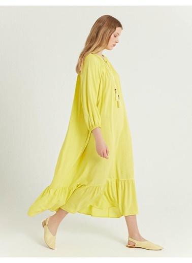 BGN Bgn Rahat Kesim Buzgulu Lime Viskon Kadın Elbise Sarı